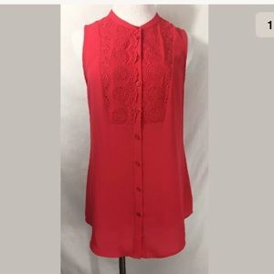 Anthropologie Maeve Coral Pink Sleeveless Blouse